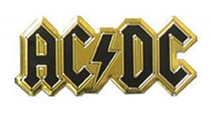 AC/DC logo small black gold metallic sticker 60mm x 25mm  (cv)